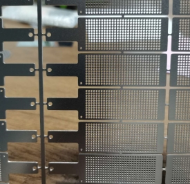 etched nickel sheet with tags